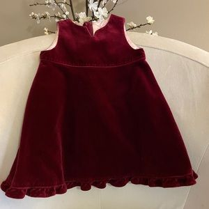 Baby Gap Velvet Burgundy Short Sleeve Dress 6-12